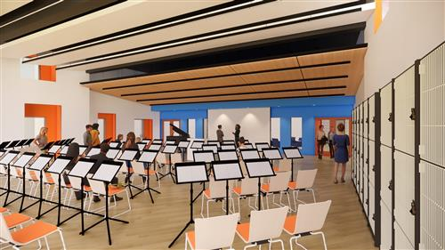 conceptual rendering of the band room.